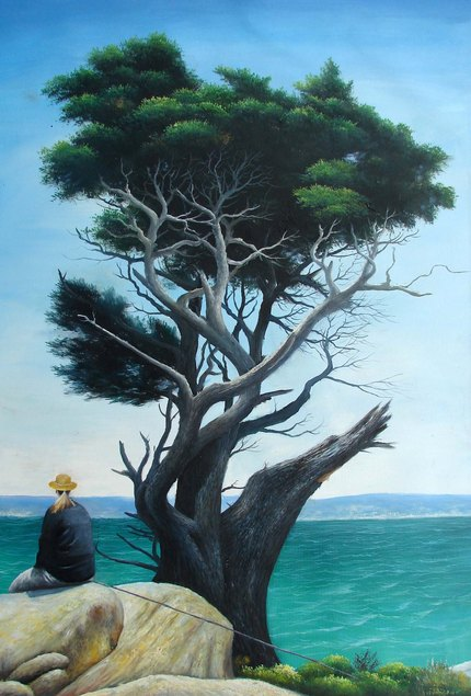 acrylic portrait of a tree by the sea