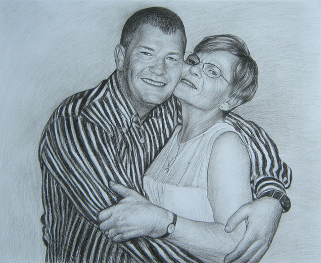 charcoal portrait of a hugging couple