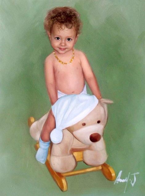 kleiner Junge als Ölgemälde