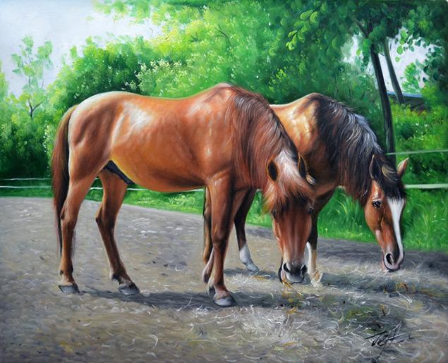 pittura di due cavalli