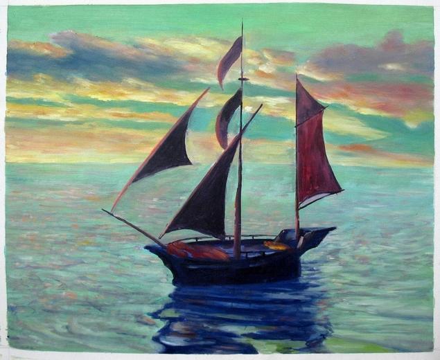 Segelboot Acrylgemälde