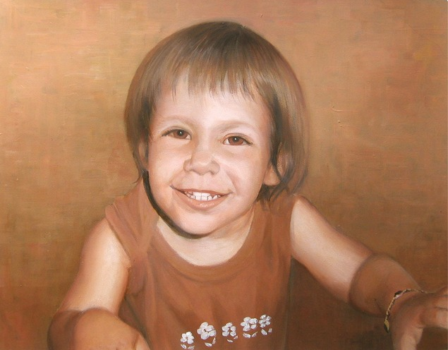 acrylic portrait of a boy