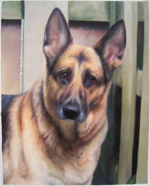 oil painting of a german shepherd