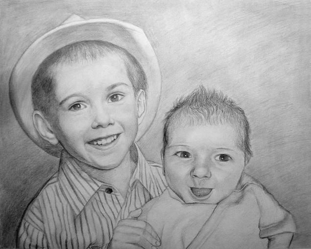 figli photo come nero disegno a matita