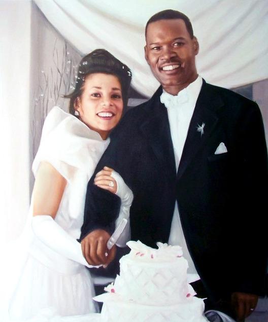 wedding portrait in oil