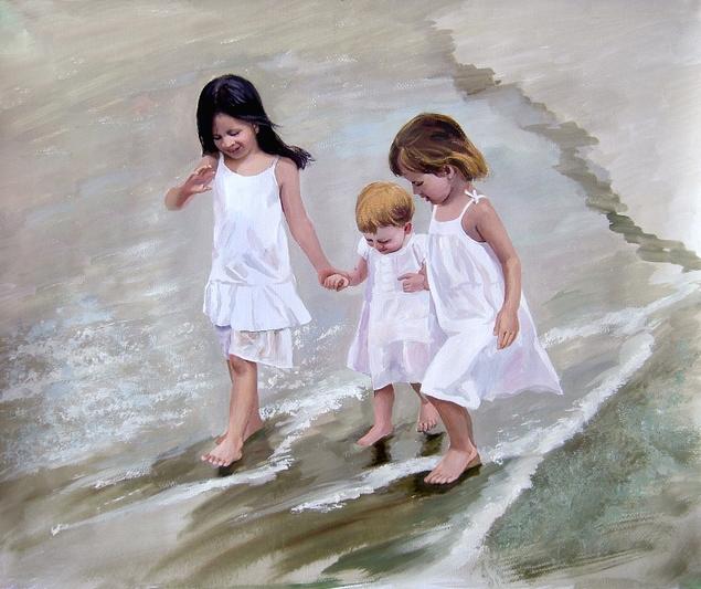 custom pastel portrait of 3 children