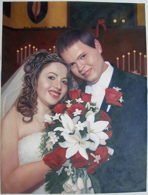 oil portrait of a wedding couple
