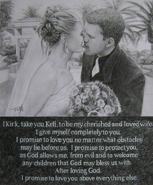 wedding photo with text as charcoal portrait
