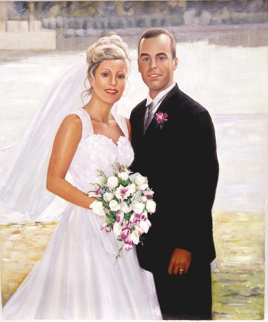 acrylic wedding portrait