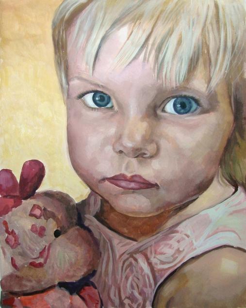 child portrait in pastel