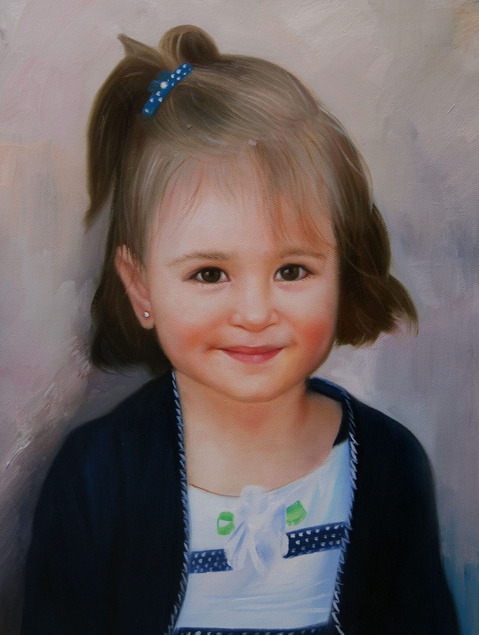 oil painting from photo of a girl