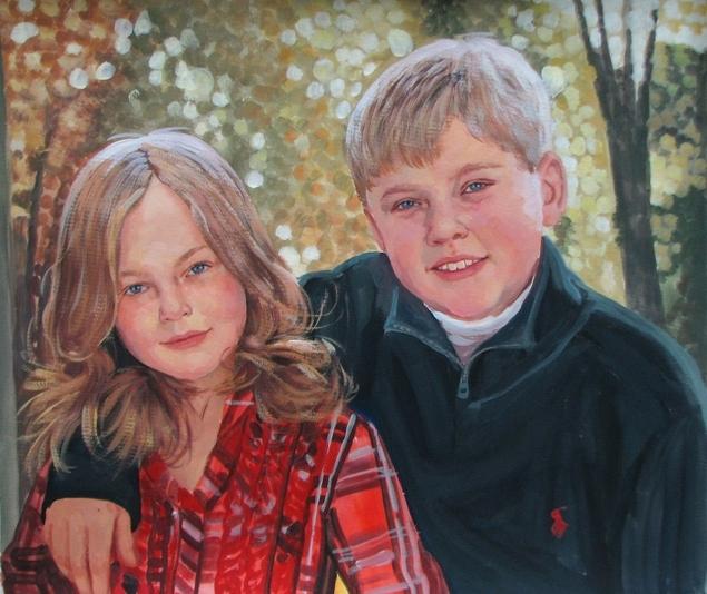 pastel portrait of 2 children
