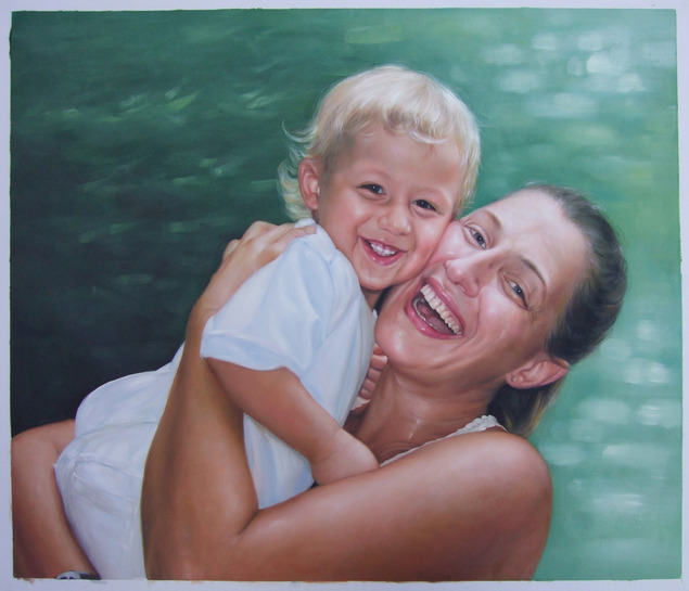 oil painting of mother and baby boy