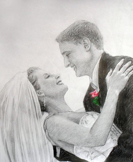 color pencil wedding portrait