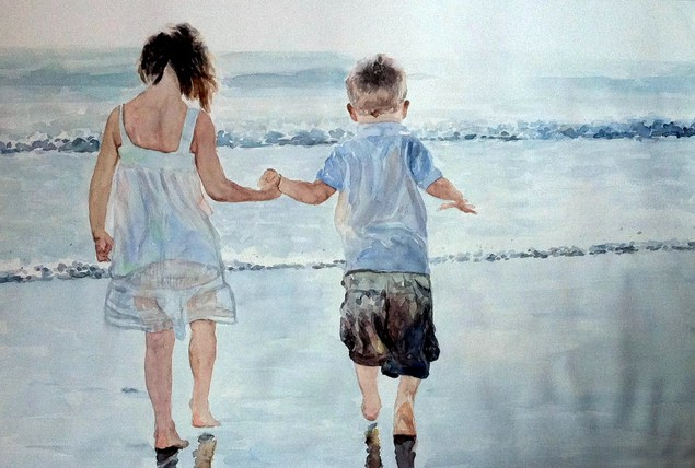 watercolor painting of two children on the beach