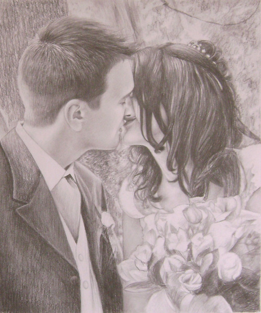 pencil portrait of wedding photo