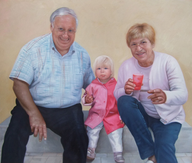 Familien Ölgemälde