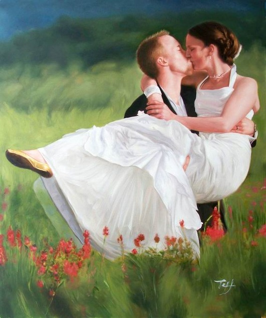 oil painting of a wedding couple