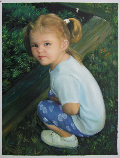 personalized oil portrait of a little girl