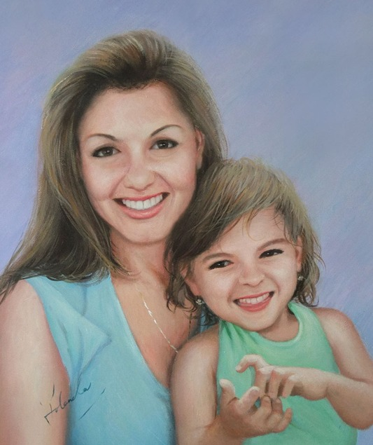 mother and child acrylic portrait