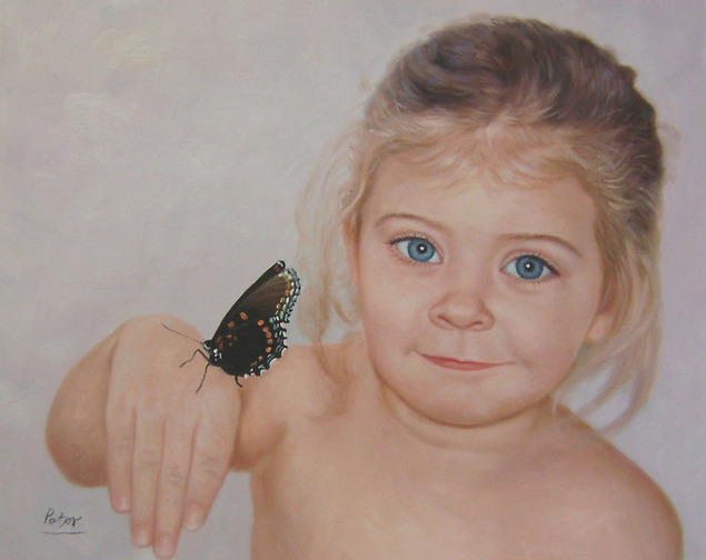 litlle girl with butterfly