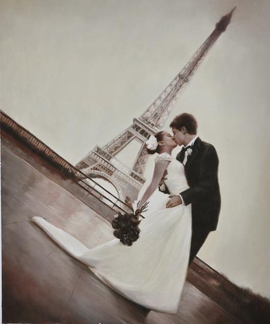 wedding portrait in oil - near Eifel tower