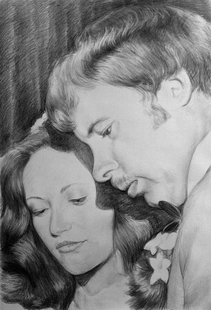 wedding photo in charcoal