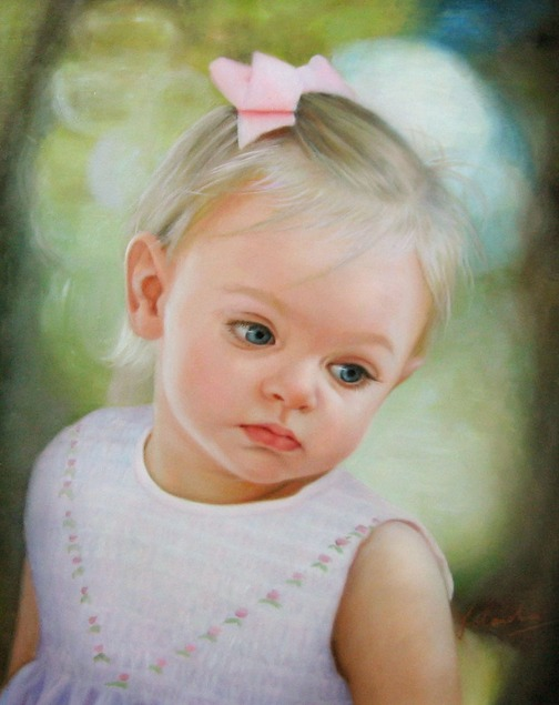 child portrait in oil
