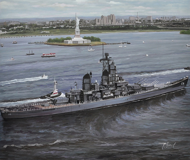 oil painting of an army ship near the statue of liberty