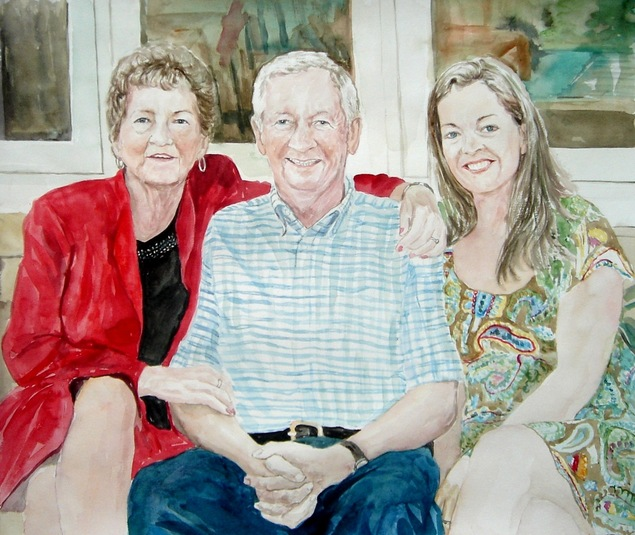 watercolor portrait from picture of a family