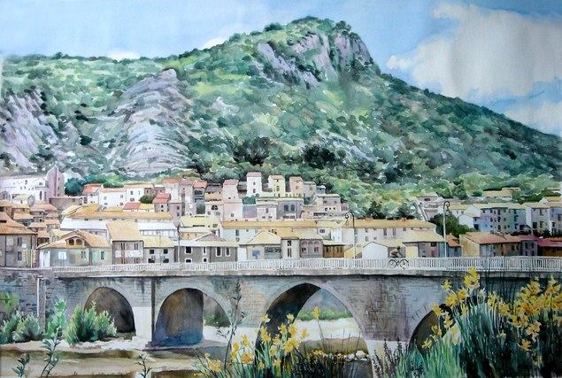 Peinture paysage à l'aquarelle