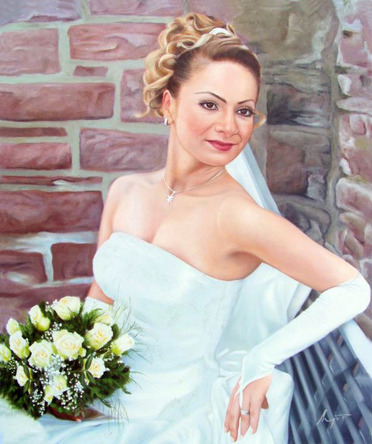 Ölgemälde vom Hochzeitsfoto