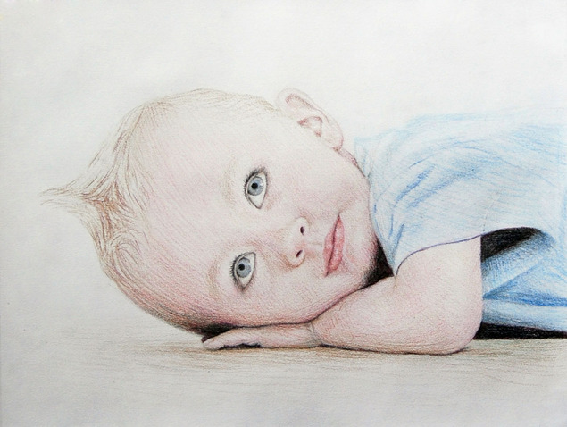pencil drawing of a child in color