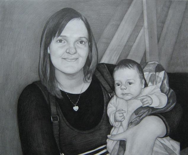 Portrait au crayon en noir et blanc