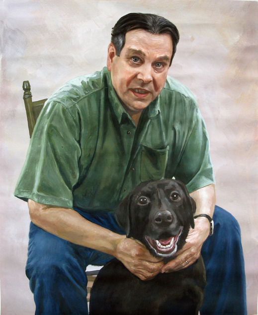 man and dog portrait in pastel