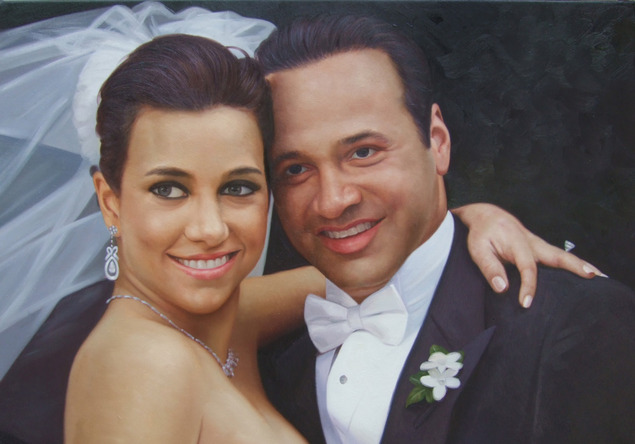 custom wedding portrait in oil