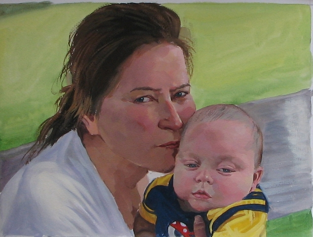 pastel portrait of a mother and baby