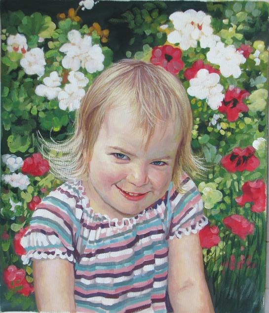 Pastellgemälde von einem Mädchen