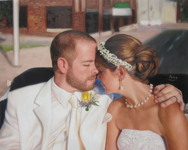 wedding oil portrait from photo