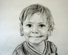 child portrait in charcoal