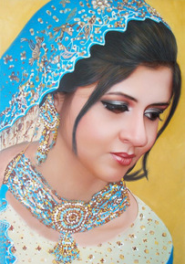 oil portrait of a woman in traditional clothes