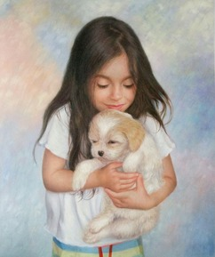 oil portrait of a girl holding a dog