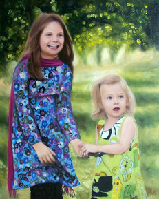 oil portrait of two girls in nature