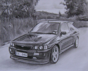 charcoal portrait of a car