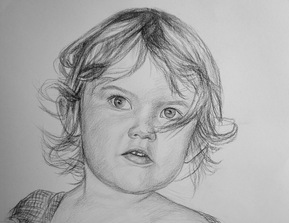 charcoal portrait of a cute little girl