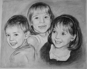 montage of 3 kids in a charcoal portrait