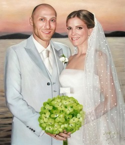 oil portrait of a married couple holding a bouquet