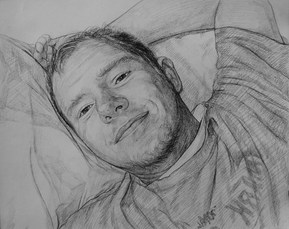 charcoal portrait of a guy lying down