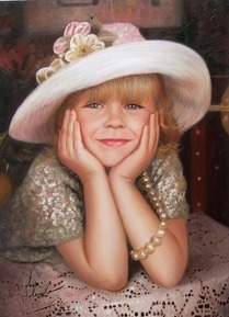 oil portrait of a girl with a white hat