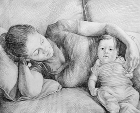 charcoal portrait of a mother and baby on sofa